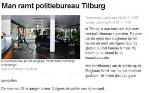Man rijdt politiebureau Tilburg Ringbaan Zuid binnen